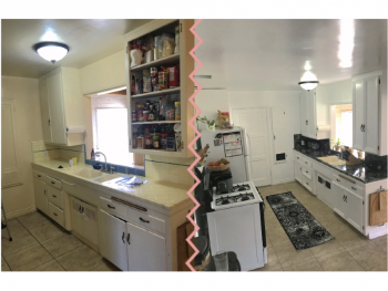 DIY kitchen remodel, contact paper over tile, borders on cabinets, budget friendly